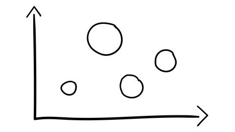 A hand-drawn infographic element - a coordinate axis with circles Footage