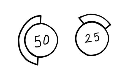 Hand-drawn round graphics with segments Footage