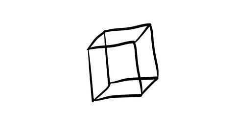 Hand-drawn cube in three-dimensional plane Footage