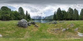 Fusine Lake in Fusine Valromana, Italy VR 360° Photo
