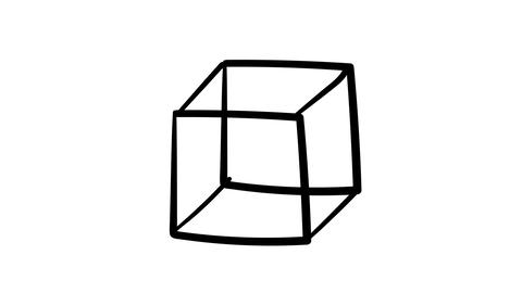 Hand-drawn lines cube in isometric Footage