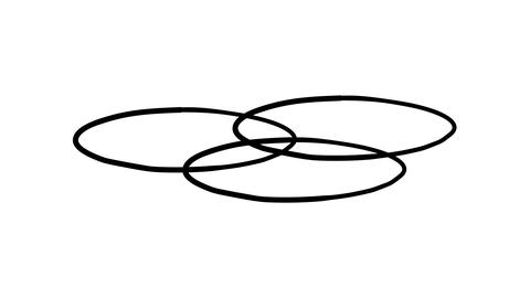 A freehand drawn infographic element - three intersecting circles on a plane Footage