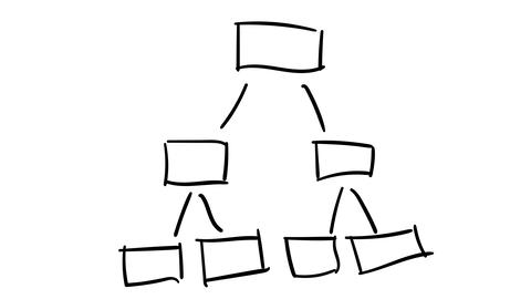 Freehand drawing infographic element - a scheme of branching out of rectangles Footage