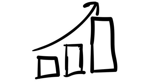 A hand-drawn sketchy graph of growth bars and an arrow Footage