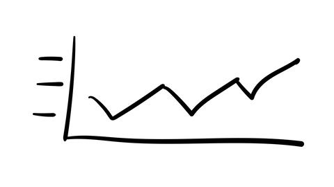 Hand-drawn sketchy linear graph of broken curve growth Footage