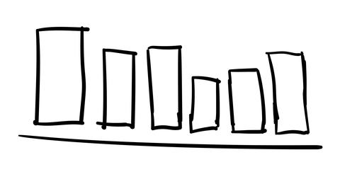 Hand-drawn sketchy graph with columns Footage