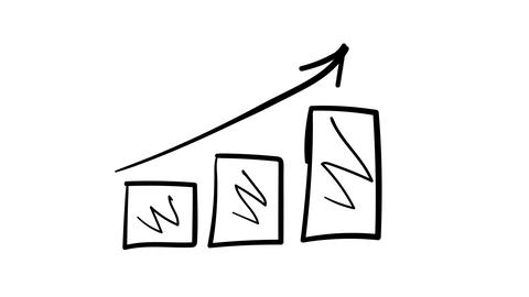 A hand-drawn sketchy graph of growth columns with directional arrows Footage