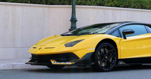 Black And Yellow Lamborghini SVJ - Side View Footage