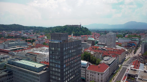 Ljubljana panoramic view with cloudscape and castle hill in background Live Action