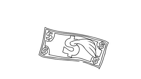 Dollar Bill Flying With Wings Drawing 2D Animation Stock Video Footage