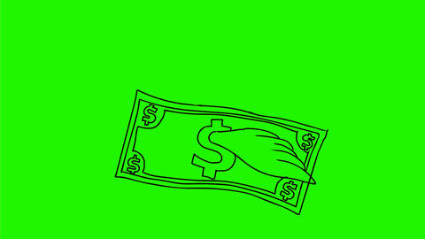 Dollar Bill Flying With Wings Drawing 2D Animation Animation