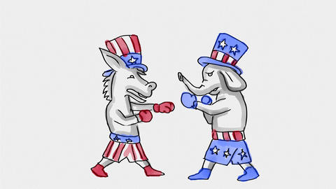 American Democratic donkey and Republican Elephant Watercolor 2D Animation Animation
