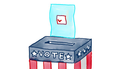 American Ballot Box Watercolor 2D Animation Animation