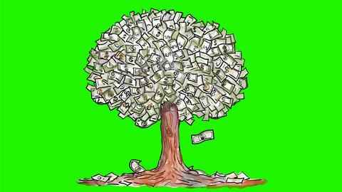 Money Tree Dollar Bills Falling Watercolor 2D Animation Animation