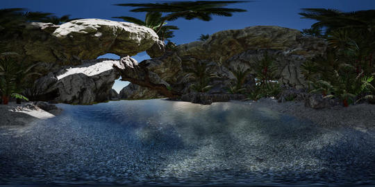 VR 360 cave paradise blue sea and sky. paradise on beach tropical island Live Action