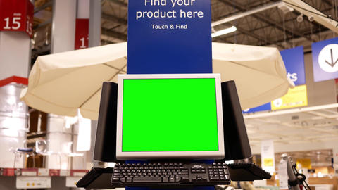 Motion of green screen computer at storage place inside… Stock Video Footage