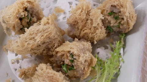 Motion of dim sum on table inside Chinese restaurant with 4k resolution Footage