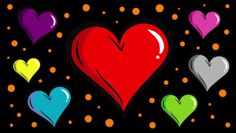 Colorful hearts with blac kbackground Animation