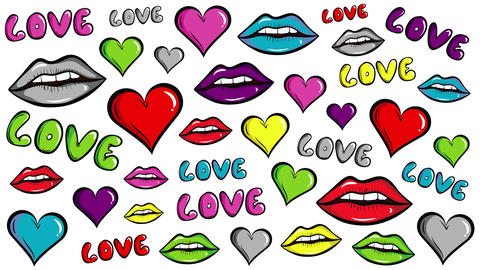 Colorful love and lips white, Stock Animation
