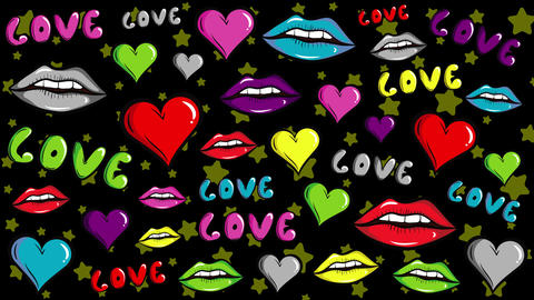 Colorful love lips and stars Animation