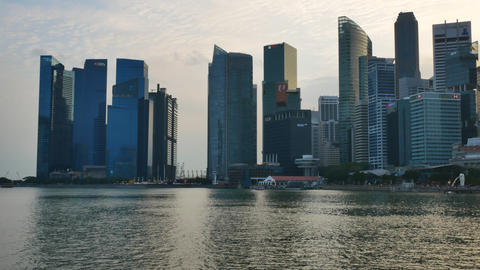 Singapore modern architecture at the sunset Footage
