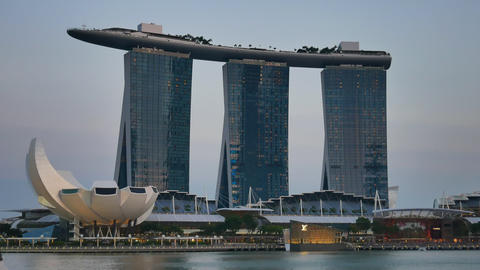 Marina Bay Sands hotel in the evening in Singapore Footage