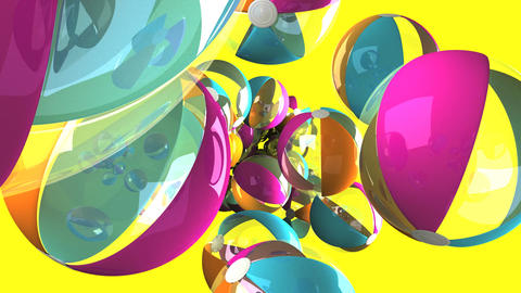 Colorful beach balls on yellow background Animation