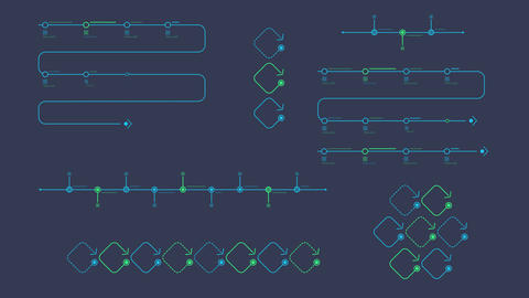 Timeline infographic charts on alpha channel Animation