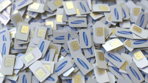SIM cards with Samsung logo, close-up. Editorial telecommunication related 3D ビデオ