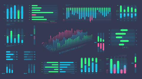 A set of decorative Bar charts on the alpha channel Animation