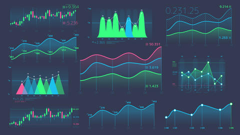 Decorative infographics from linear and candle charts Animation