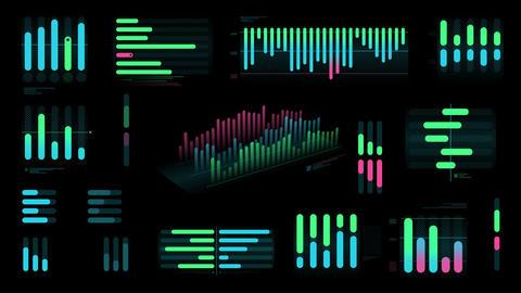 Set of color Bar charts on black background Videos animados