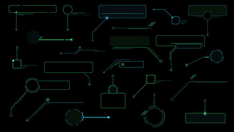 Decorative infographic Callouts on the black background Animation