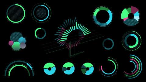 Infographic set without data on black background Animation