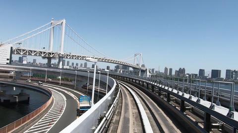 Japanese railway travel video. Train window with rainbow bridge in Tokyo ビデオ