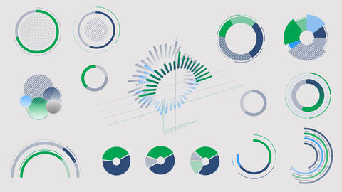Circle charts and diagrams on the alpha channel Videos animados