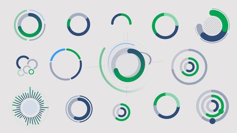Circle infographics - graphs, charts and diagrams Videos animados