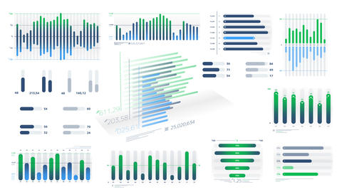 Blue-green animated diagrams on the white background Videos animados