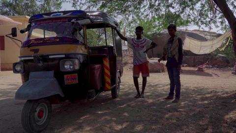 Available transport in India.Rickshaw or Tuk tuk Footage