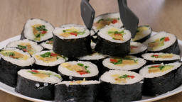 Sushi serving. Plate of sushi Footage