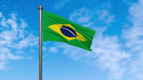 ブラジル 国旗 旗 フラッグ アニメーション CG動画