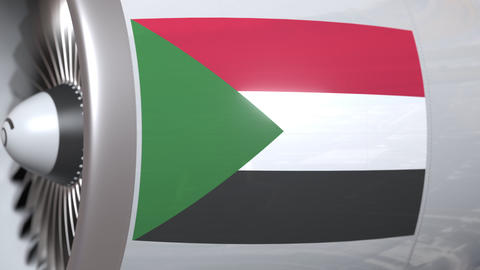 Aircraft engine with flag of Sudan, Sudanese air transportation related 3D Live Action