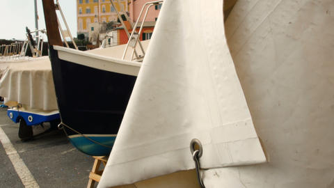 sailboats on the harbor anchored, sunset at the port of Nervi Footage