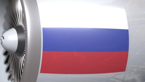 Airplane turbine with flag of Russia. Russian transportation conceptual 3D Live Action