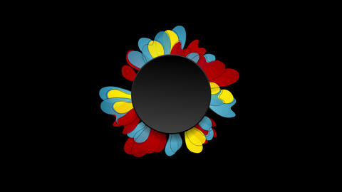 Colorful flower and black circle video animation CG動画素材