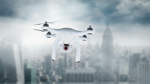 Digital image of drone holding a camera and flying Animation
