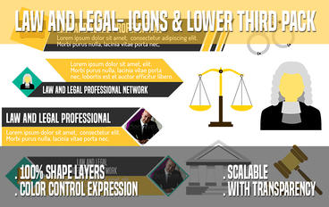 Law And Legal- Icons & Lower Third Pack stock footage