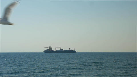 Cargo Ship in Sea Footage