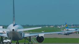 Air Astana Embraer 190 landing and braking Footage