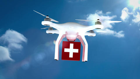 Digital image of drone is holding a medicine box and flying Animation